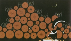 Raccoonnaissance, by Charley Harper